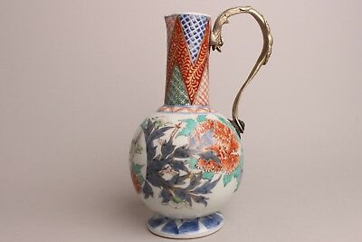 Amazing Japanese Porcelain Mounted Ewer Meiji Period 19th century Imari, Bird.