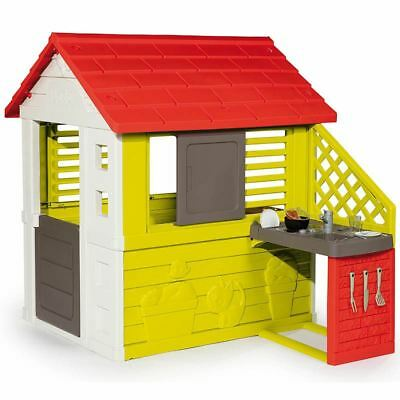 Smoby Nature Childrens Playhouse With Kitchen Indoor & Outdoor Kids Wendy House