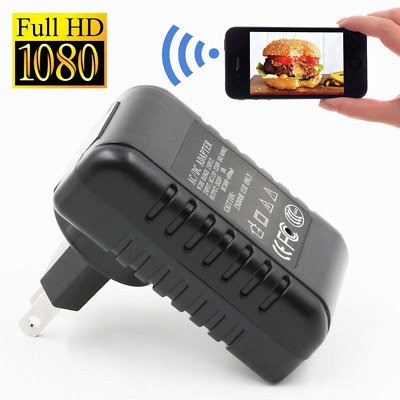 Wireless Mini Camera Wall Charger Adapter Covert Cam HD 1080P Home Security US