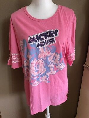 Disneyland Mickey Mouse T-shirt Pink ~womens XXL ~ Mickey  Faces Disney Parks