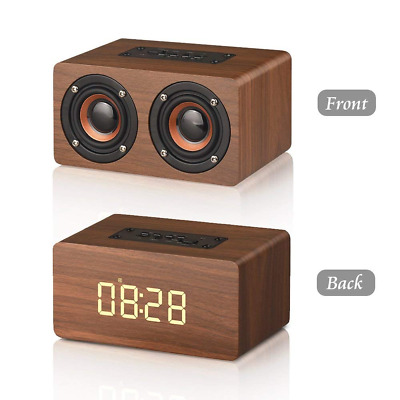 Bluetooth Speaker Wooden Bass HiFi Dual Surround Stereo Sound Bulit-in Mic NEW