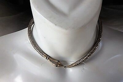1920's art deco Egyptian Revival Sterling Silver Mesh Snake Necklace