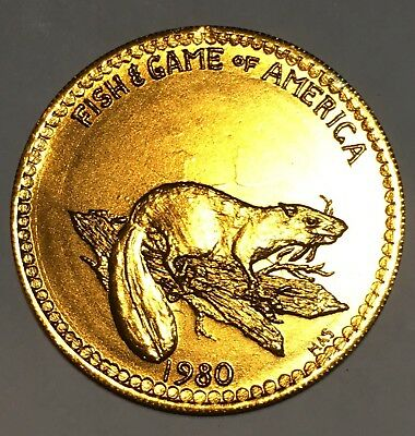 1980 Beaver Fish and Game of America Jefferson Buzzards Mardi Gras Coin Doubloon