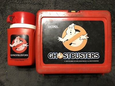 Ghostbusters Red Plastic Lunchbox 1985 Thermos Brand With Thermos