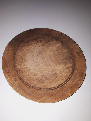 Rare Old Antique Authentic Primitive Hand Carved Wooden Treenware Round Plate#3