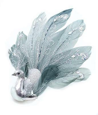 Glitter Silver Blue Fan Tail Peacock Wedding Christmas Tree Ornament 7 in.