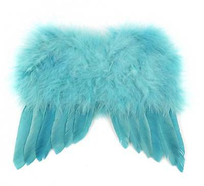 Sweet Teal Peacock Blue Angel Wings Feather Easter Christmas Ornament Decoration