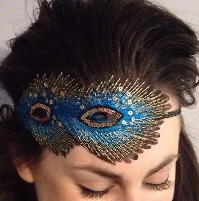 Turquoise Peacock Feather Headband Vintage 1920s Headpiece Gatsby Flapper