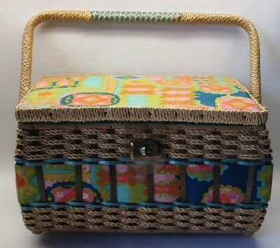 Vintage Woven Sewing Basket with Notions Tray