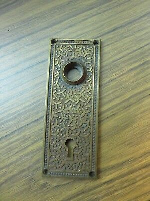 Vintage Victorian Eastlake Key Hole Door Knob Back Plate Arts Crafts