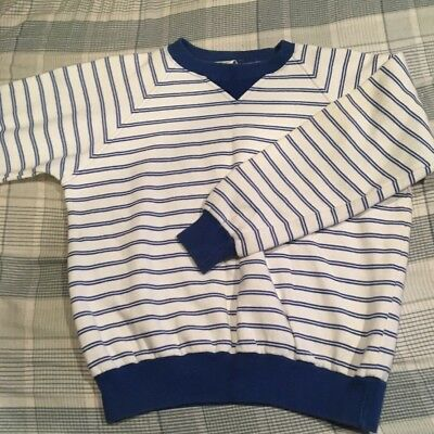 Vintage Christian Dior Striped Sweater Mens Medium White Blue Very
