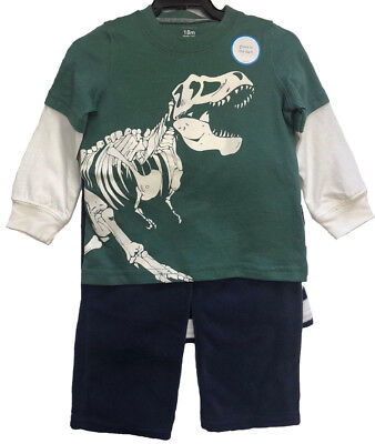 NEW Carter's Boys 3 Piece Glow In the Dark T-Rex Sweater Set - SIZE: 18m