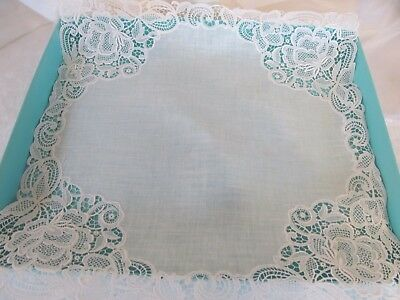 Vtg Linen Appenzell Style Handkerchief Embroidered Bridal Wedding Hankie  Lace