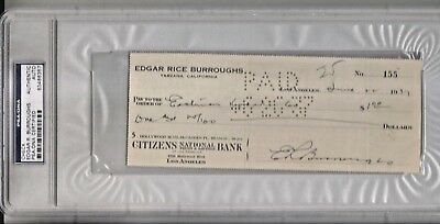 Original 1937 Edgar Rice Burroughs Signed Check Slabbed And Certified By Psa/dna
