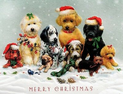 10 Embossed Boxed Christmas Cards Puppies Dogs Dachshund Poodle Yorkie Dalmatian