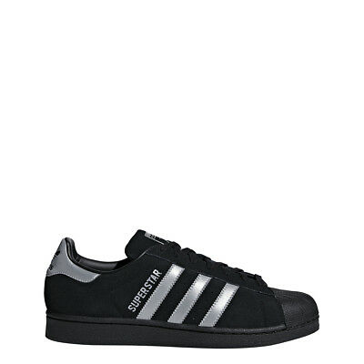 New Adidas Men's Originals Superstar Shoes (B41987)  Black // Metallic Silver