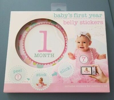 Baby's first year belly stickers baby girl. Baby shower newborn gift