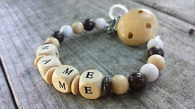 Personalized pacifier clip Binky holder Wooden name gift Neutral baby