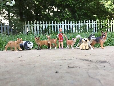 Lot of Schleich Animals. Dog,cat deer,Fox, husky,and more