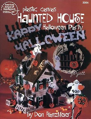 Haunted House Halloween Party ~ Ghosts Cats & Motifs plastic canvas patterns