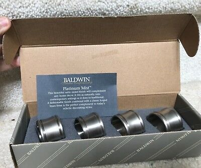 BALDWIN Platinum Mist Finish DOVER NAPKIN RINGS # 7535.150 (4) MINT CONDITION