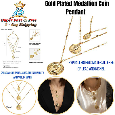 18K Gold Plated Canadian Coin Ball Chain Vintage Layered Pendant Necklace Women