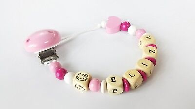 Personalized pacifier clip Binky holder Wood name gift Baby girl Hello Kitty