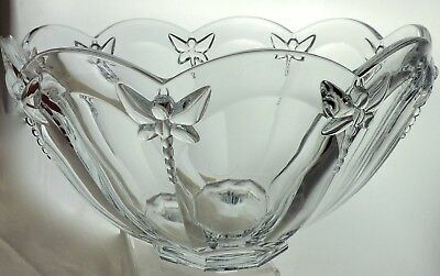 Lenox Clear Crystal Large Round Dragonfly Bowl Butterfly Meadow Pattern