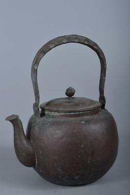 R5082: Japanese Shapely OLD COPPER BOTTLE Teapot Dobin Tea Ceremony
