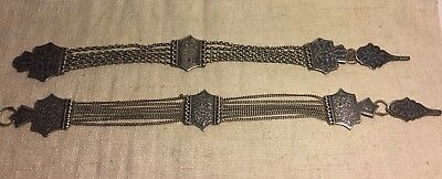 Russian Antique Pair 84 Sterling Silver Niello Watch Fob Chains
