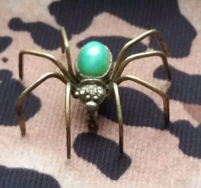 "Vintage Antique Brass Green Peking Glass SPIDER Bug Insect Pin Brooch 1.5"" CZECH"