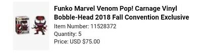 Funko Pop Marvel: Venom Carnage with Tendrils NYCC 2018 Shared Sticker Preorder