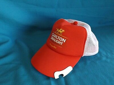 Carlton Draught Beer Hat Cap with built in Bottle Opener brand new unused