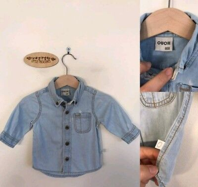 Sz 00 Ouch washed-out denim shirt