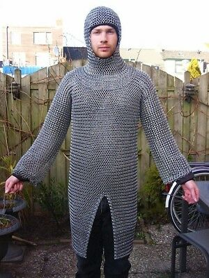 FULL COVEZinc Plated Long Medieval Butted Mild Steel Chainmail Shirt Full Sleeve