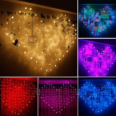 LED Heart Love Fairy String Light Curtain Twinkling Valentine Xmas Wedding Party