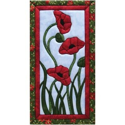 Quilt-magic No Sew Wall Hanging Kit-trio Of Poppies - Trio Quilt Magic Kit10x19