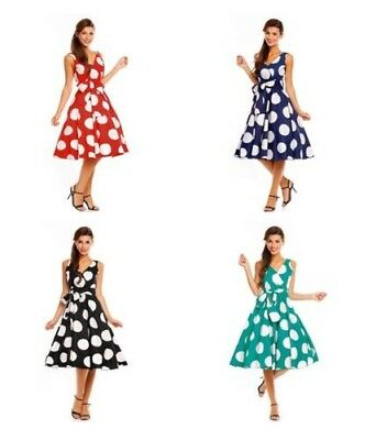 the latest aad4b d814a DONNA RETRO VINTAGE Anni 50 Swing Grande a Pois Vestito Stile Rockabilly