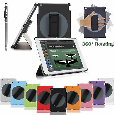New Case Hand Strap Leather Smart Flip Stand 360 R Cover For Apple iPad Air