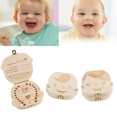 1PC Wooden Baby Tooth Organizer Storage Box Cute Box Gift For Kids Teeth Collect