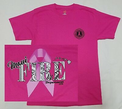 Maui Fire Department Breast Cancer Awareness T Shirt 3xl Pink Ribbon