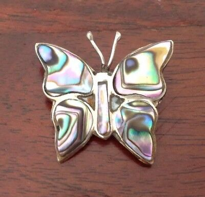 """Vintage Silver & Abalone Shell Butterfly Pin Brooch Signed Mexico Alpaca 1""""W"""