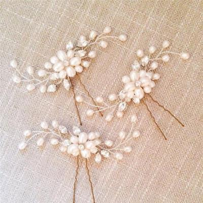 Flower Garland Pearl Headband Wedding Bride Hair Accessories HeadPiece Party JJ