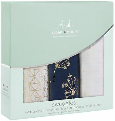 Aden + Anais CLASSIC SWADDLE 3 PACK METALLIC GOLD DECO Baby Bedding - BN