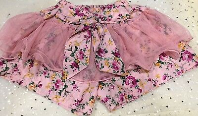 New!GIrls Pink Shabby Floral Pink Tutu Culottes Sz 2 Au Seller