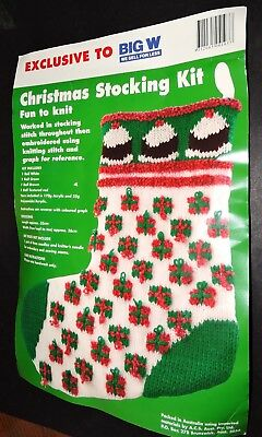 Christmas Stocking Knitting Kit Pattern & Wool Green Red White Puddings Presents