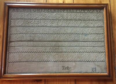 ANTIQUE EARLY 19TH CENTURY SAMPLER c.1842 Primitive