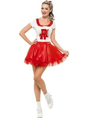 SALE! Adult 50s Grease Sandy Cheerleader Ladies Fancy Dress Costume Party Outfit