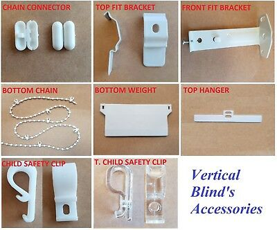 Vertical Blinds Spare Parts for 89 mm OR 127 mm Weight, Hangers, Chain Brackets