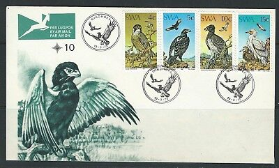 South West Africa -#373-#376 Birds Of Prey Set On First Day Cover + Insert(1975)